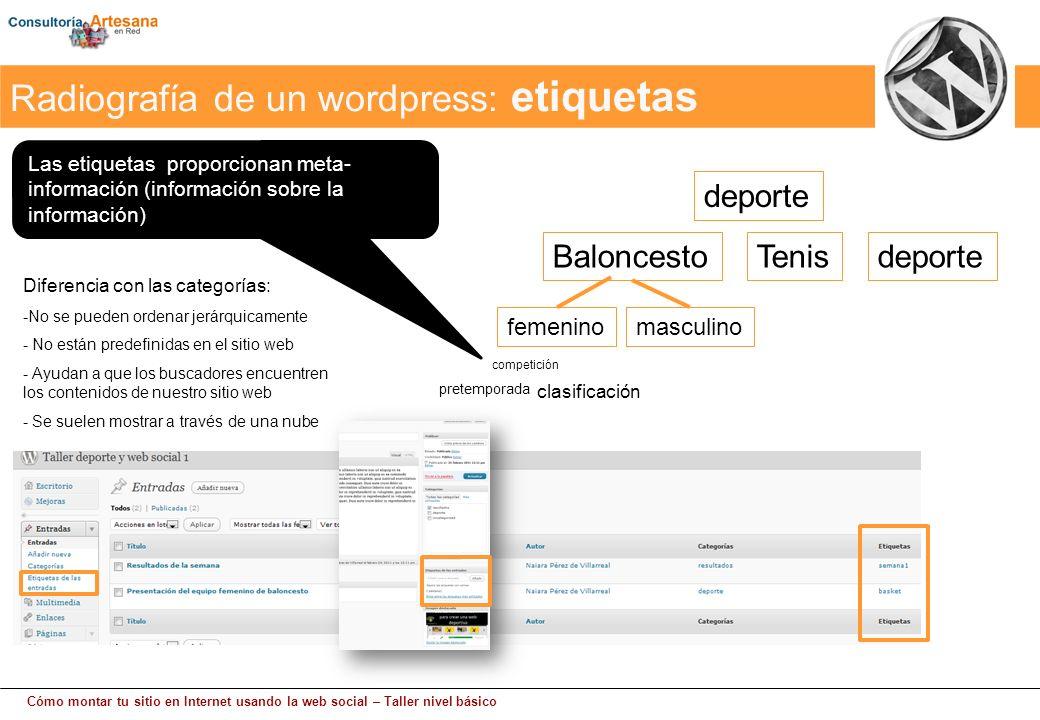 Cómo montar tu sitio en Internet usando la web social – Taller nivel básico Las etiquetas proporcionan meta- información (información sobre la informa