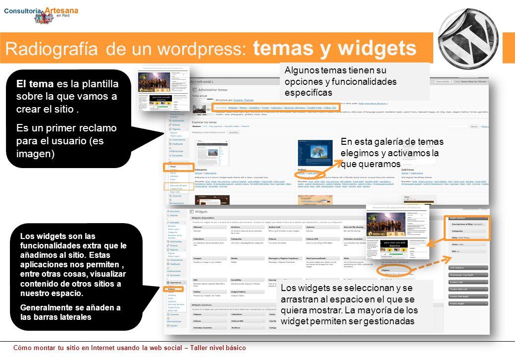 Cómo montar tu sitio en Internet usando la web social – Taller nivel básico El tema es la plantilla sobre la que vamos a crear el sitio.