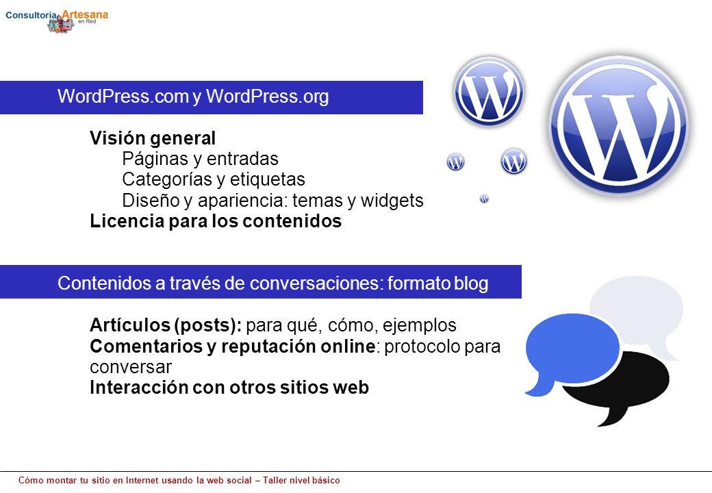 Cómo montar tu sitio en Internet usando la web social – Taller nivel básico WordPress.com y WordPress.org Visión general Páginas y entradas Categorías