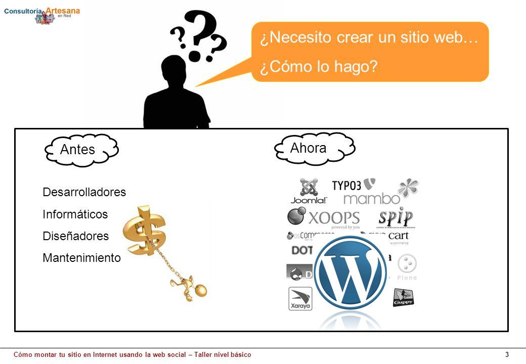 Cómo montar tu sitio en Internet usando la web social – Taller nivel básico3 Antes ¿Necesito crear un sitio web… ¿Cómo lo hago? Ahora Desarrolladores