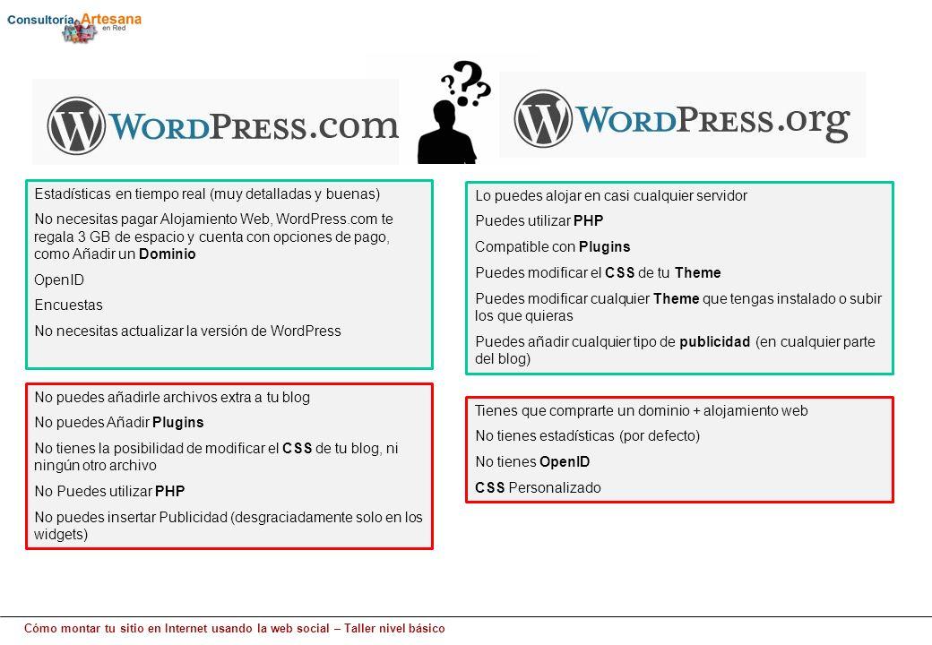 Cómo montar tu sitio en Internet usando la web social – Taller nivel básico Estadísticas en tiempo real (muy detalladas y buenas) No necesitas pagar Alojamiento Web, WordPress.com te regala 3 GB de espacio y cuenta con opciones de pago, como Añadir un Dominio OpenID Encuestas No necesitas actualizar la versión de WordPress No puedes añadirle archivos extra a tu blog No puedes Añadir Plugins No tienes la posibilidad de modificar el CSS de tu blog, ni ningún otro archivo No Puedes utilizar PHP No puedes insertar Publicidad (desgraciadamente solo en los widgets) Lo puedes alojar en casi cualquier servidor Puedes utilizar PHP Compatible con Plugins Puedes modificar el CSS de tu Theme Puedes modificar cualquier Theme que tengas instalado o subir los que quieras Puedes añadir cualquier tipo de publicidad (en cualquier parte del blog) Tienes que comprarte un dominio + alojamiento web No tienes estadísticas (por defecto) No tienes OpenID CSS Personalizado