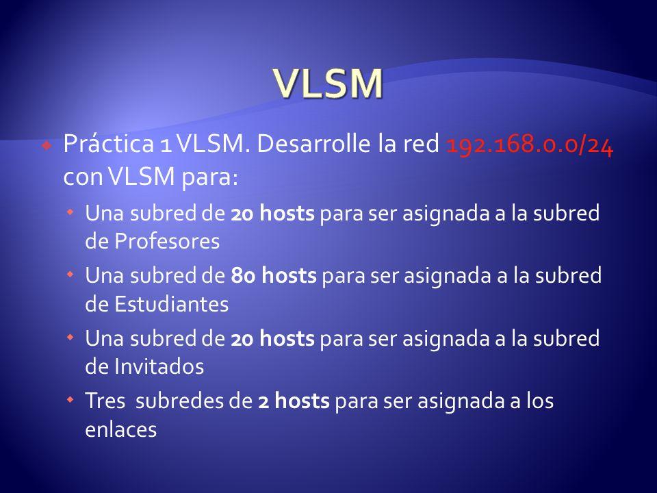 Práctica 1 VLSM. Desarrolle la red 192.168.0.0/24 con VLSM para: Una subred de 20 hosts para ser asignada a la subred de Profesores Una subred de 80 h