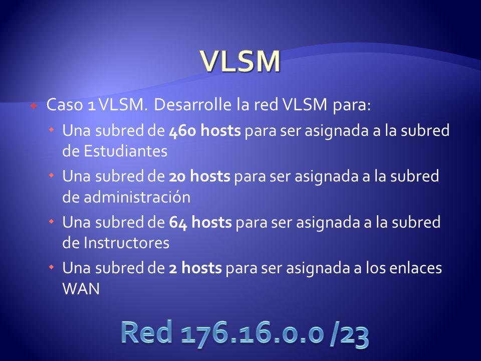 Caso 1 VLSM. Desarrolle la red VLSM para: Una subred de 460 hosts para ser asignada a la subred de Estudiantes Una subred de 20 hosts para ser asignad