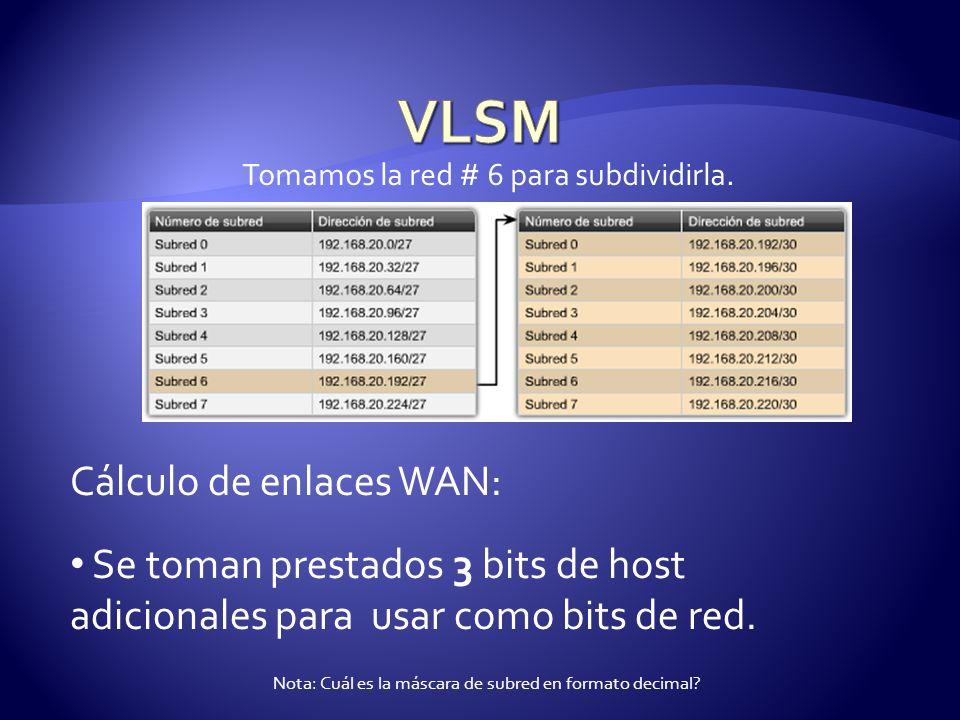Tomamos la red # 6 para subdividirla. Cálculo de enlaces WAN: Se toman prestados 3 bits de host adicionales para usar como bits de red. Nota: Cuál es