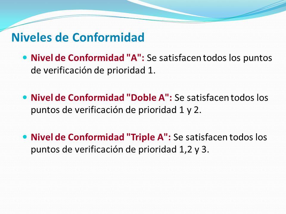 Niveles de Conformidad Nivel de Conformidad A : Se satisfacen todos los puntos de verificación de prioridad 1.
