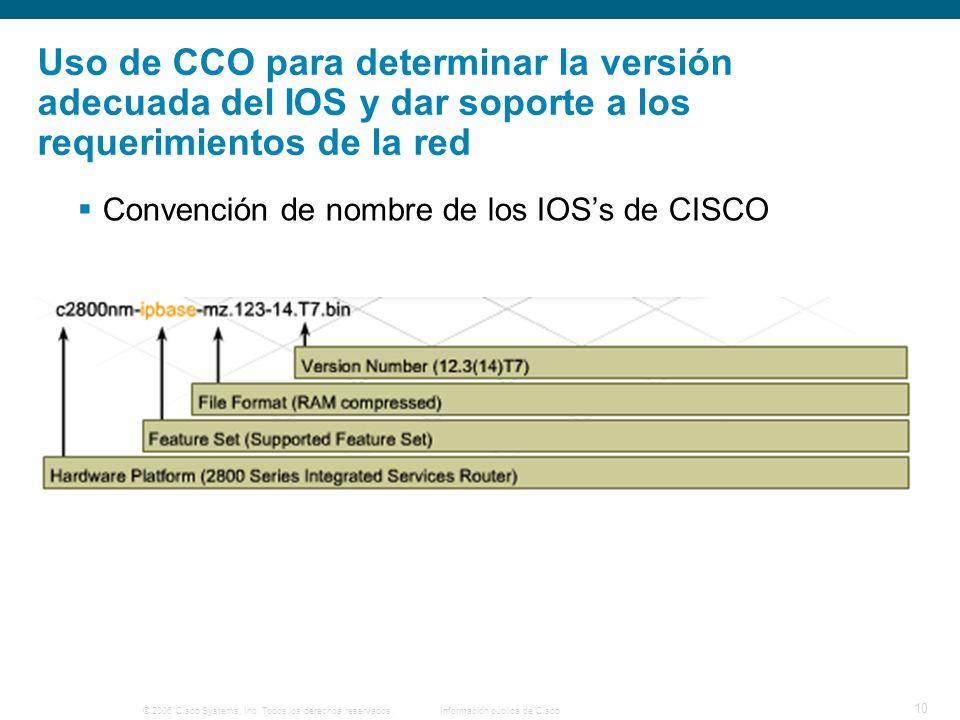 © 2006 Cisco Systems, Inc. Todos los derechos reservados.Información pública de Cisco 10 Convención de nombre de los IOSs de CISCO Uso de CCO para det