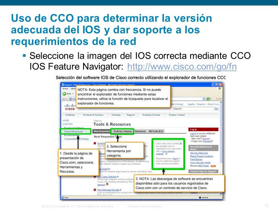 © 2006 Cisco Systems, Inc. Todos los derechos reservados.Información pública de Cisco 11 Uso de CCO para determinar la versión adecuada del IOS y dar