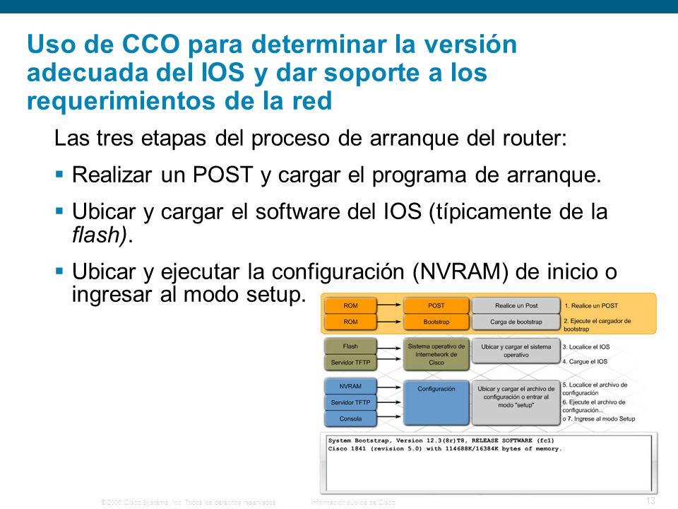 © 2006 Cisco Systems, Inc. Todos los derechos reservados.Información pública de Cisco 13 Uso de CCO para determinar la versión adecuada del IOS y dar