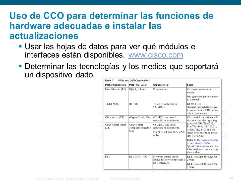 © 2006 Cisco Systems, Inc. Todos los derechos reservados.Información pública de Cisco 14 Uso de CCO para determinar las funciones de hardware adecuada