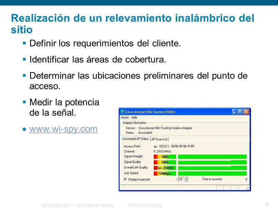 © 2006 Cisco Systems, Inc. Todos los derechos reservados.Información pública de Cisco 18 Realización de un relevamiento inalámbrico del sitio Definir