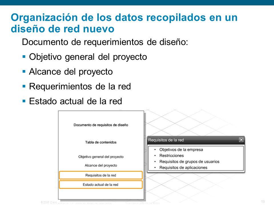 © 2006 Cisco Systems, Inc. Todos los derechos reservados.Información pública de Cisco 19 Organización de los datos recopilados en un diseño de red nue