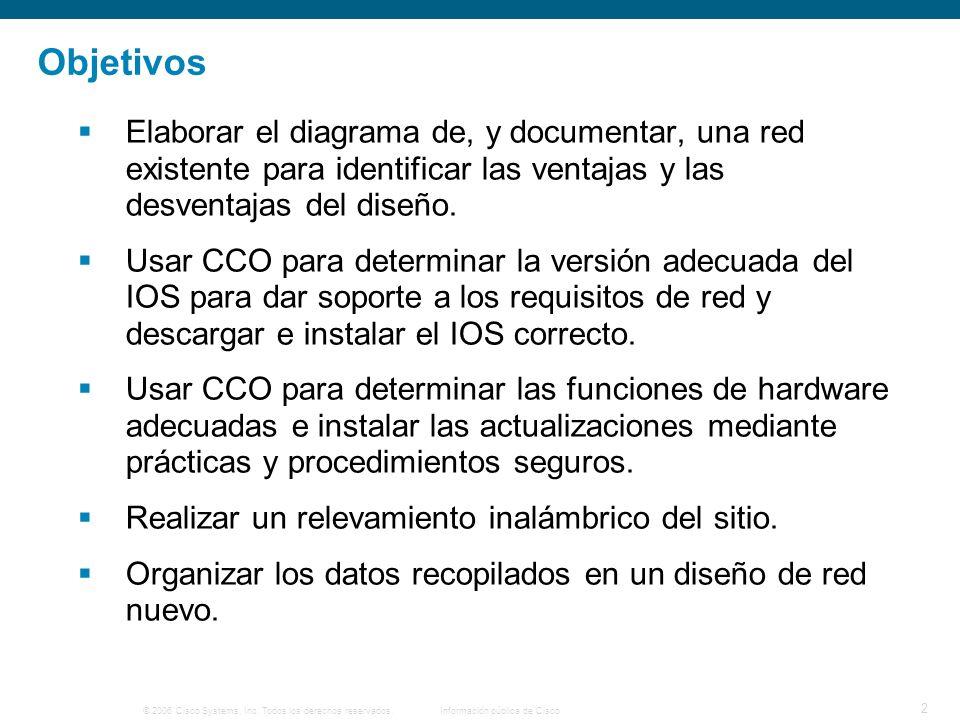© 2006 Cisco Systems, Inc. Todos los derechos reservados.Información pública de Cisco 2 Objetivos Elaborar el diagrama de, y documentar, una red exist