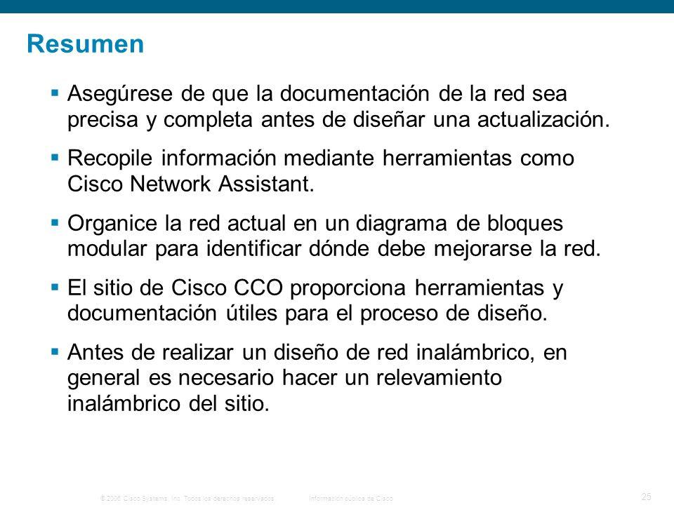 © 2006 Cisco Systems, Inc. Todos los derechos reservados.Información pública de Cisco 25 Resumen Asegúrese de que la documentación de la red sea preci