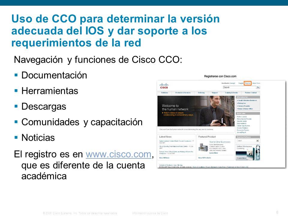 © 2006 Cisco Systems, Inc. Todos los derechos reservados.Información pública de Cisco 8 Uso de CCO para determinar la versión adecuada del IOS y dar s