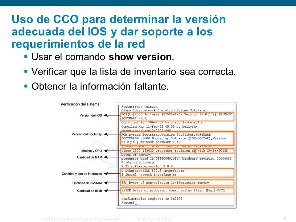 © 2006 Cisco Systems, Inc. Todos los derechos reservados.Información pública de Cisco 9 Uso de CCO para determinar la versión adecuada del IOS y dar s