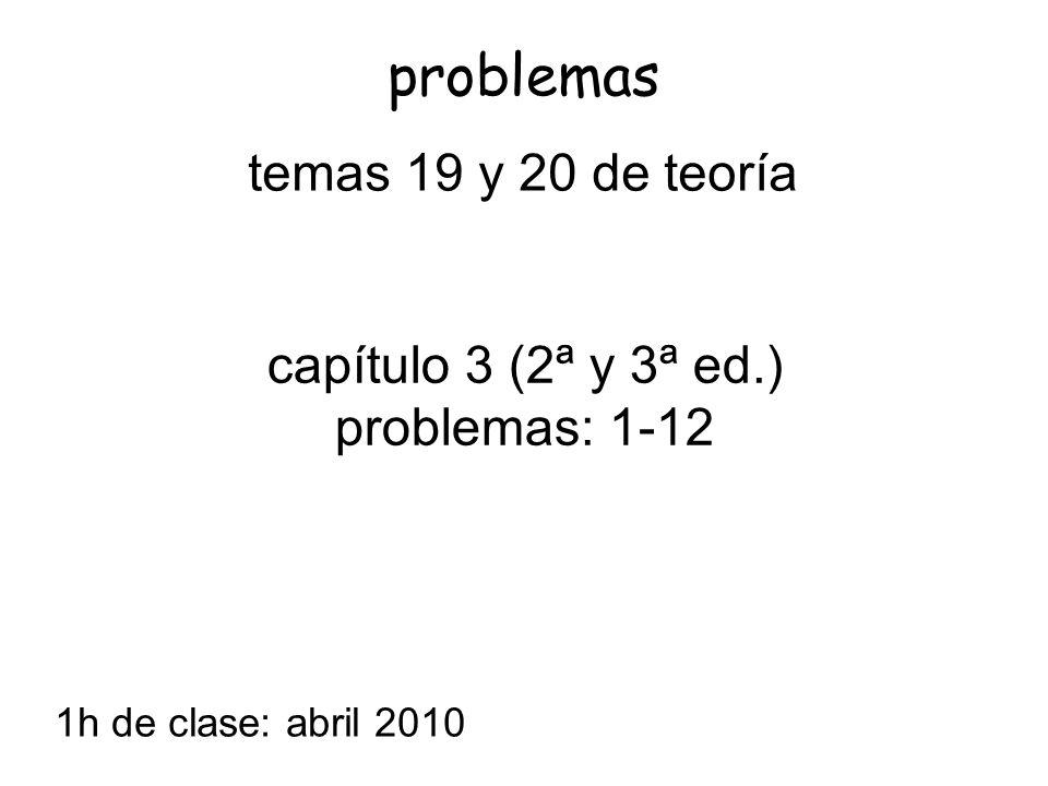 capítulo 3 (2ª y 3ª ed.) problemas: 1-12 problemas 1h de clase: abril 2010 temas 19 y 20 de teoría