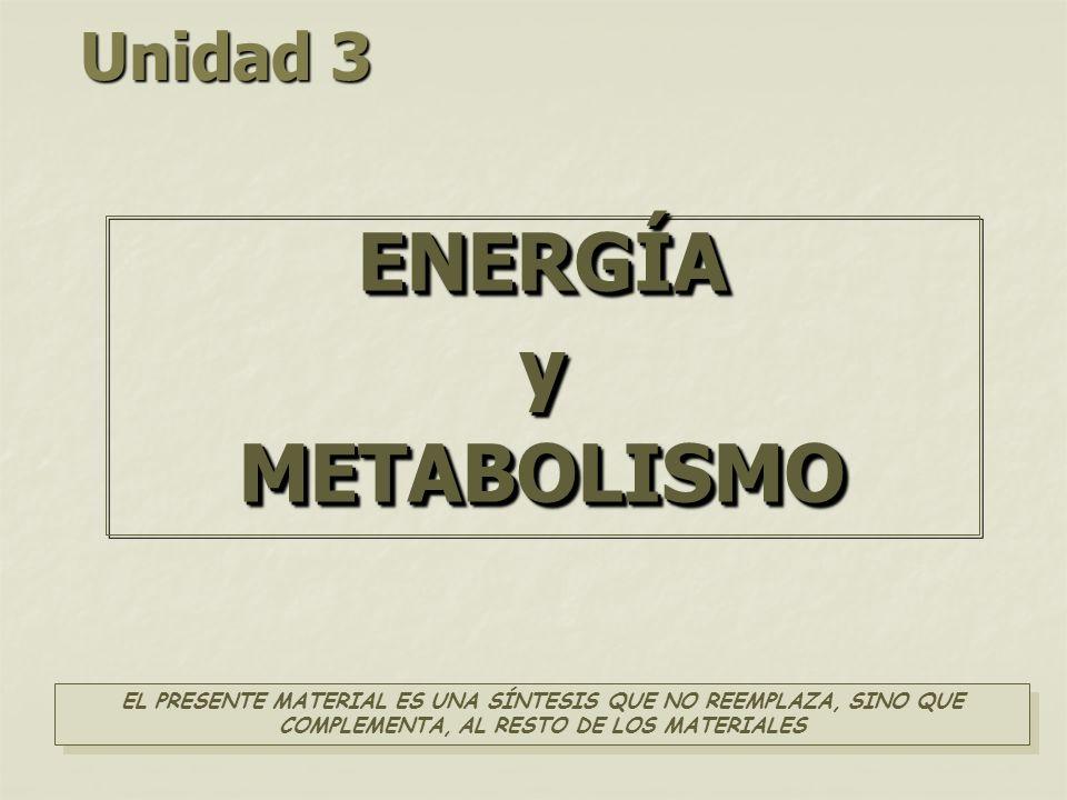 Unidad 3 ENERGÍAyMETABOLISMOENERGÍAyMETABOLISMO EL PRESENTE MATERIAL ES UNA SÍNTESIS QUE NO REEMPLAZA, SINO QUE COMPLEMENTA, AL RESTO DE LOS MATERIALES