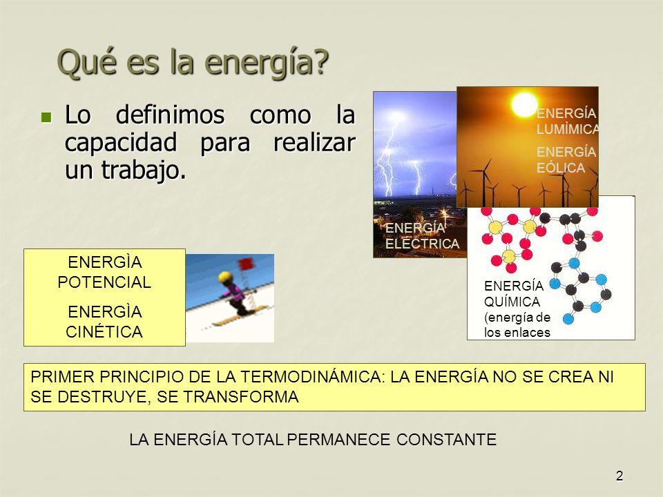 2 Qué es la energía.Lo definimos como la capacidad para realizar un trabajo.