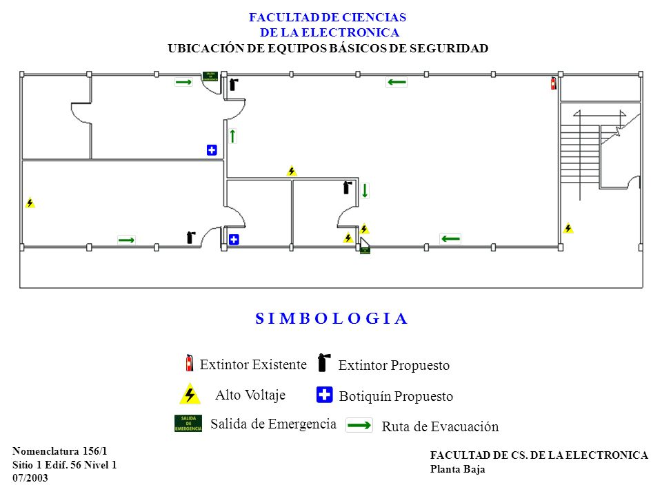 FACULTAD DE CIENCIAS DE LA ELECTRONICA UBICACIÓN DE EQUIPOS BÁSICOS DE SEGURIDAD Nomenclatura 156/1 Sitio 1 Edif. 56 Nivel 1 07/2003 FACULTAD DE CS. D