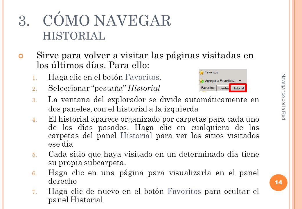 3.CÓMO NAVEGAR HISTORIAL Sirve para volver a visitar las páginas visitadas en los últimos días.