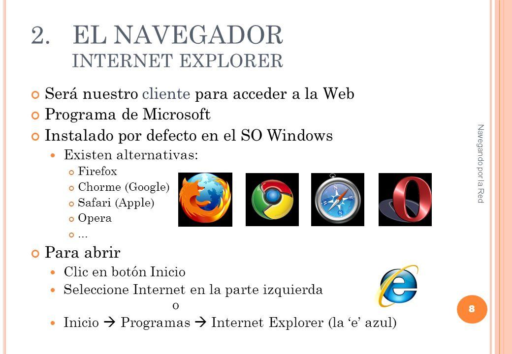 2.EL NAVEGADOR INTERNET EXPLORER 9 Barra de Direcciones Enlaces a más contenidos del sitio Contenido Enlaces y noticias importantes
