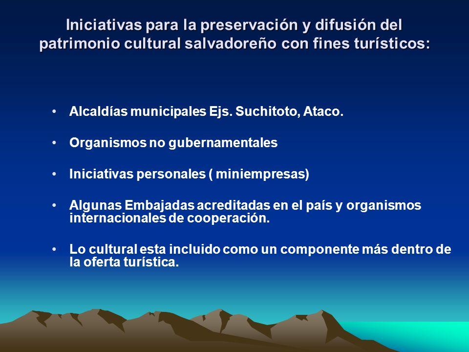 Algunas iniciativas para la preservación y difusión del patrimonio cultural salvadoreño y gestión turística: Fundación Salvadoreña de Arqueología, FUNDAR (1996), Esfuerzos de investigación y en rehabilitar algunos conjuntos arqueológicos de los más conocidos del país.