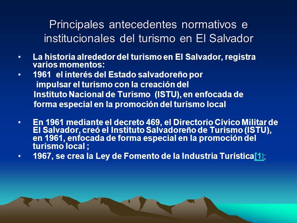 1982, creación de la Comisión Nacional de Turismo 1996 se funda la Corporación Salvadoreña de Turismo CORSATUR Hasta junio de 2004 fue la entidad rectora del turismo en El Salvador, cuya labor principal era la promoción del turismo de sol y playa y de negocios a nivel internacional.