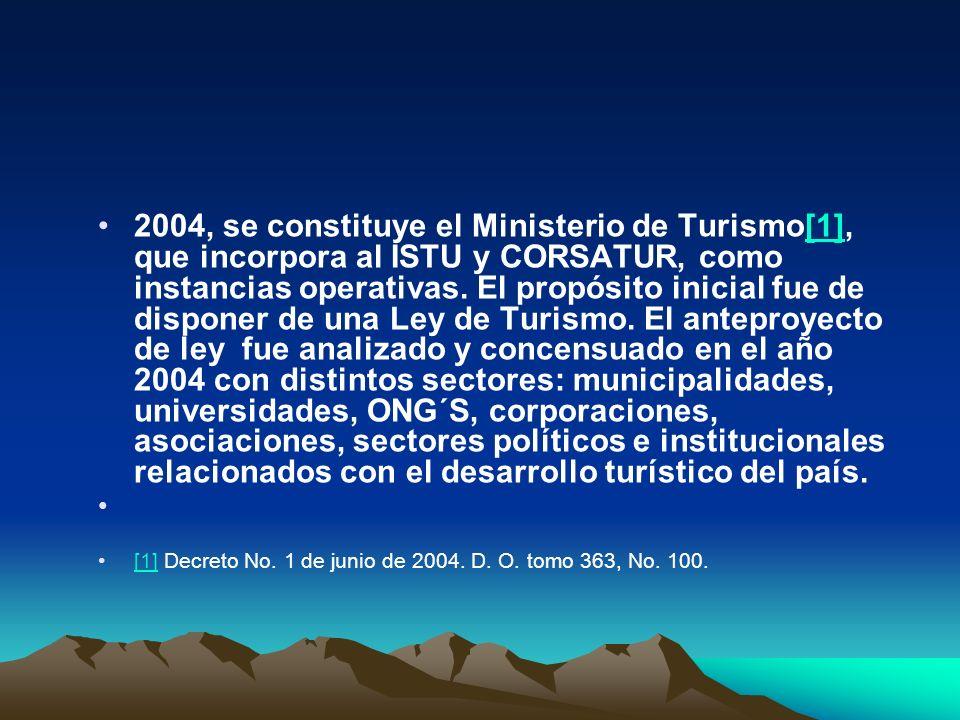 2005, se crea la Ley de Turismo[1].Responde a una estrategia económica del sector.