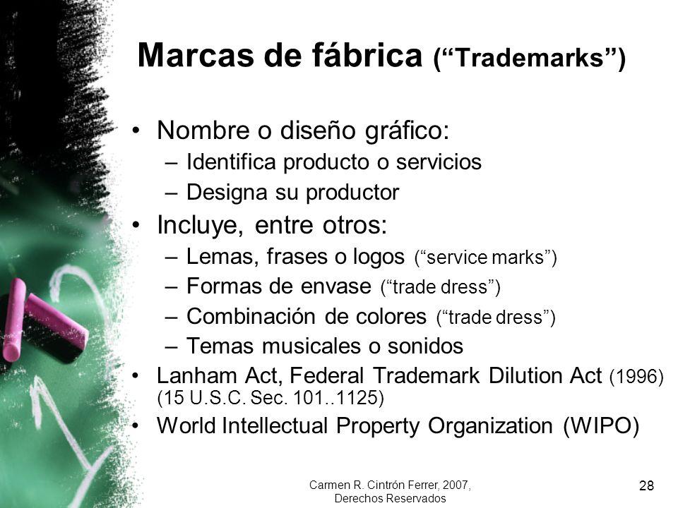 Carmen R. Cintrón Ferrer, 2007, Derechos Reservados 28 Marcas de fábrica (Trademarks) Nombre o diseño gráfico: –Identifica producto o servicios –Desig