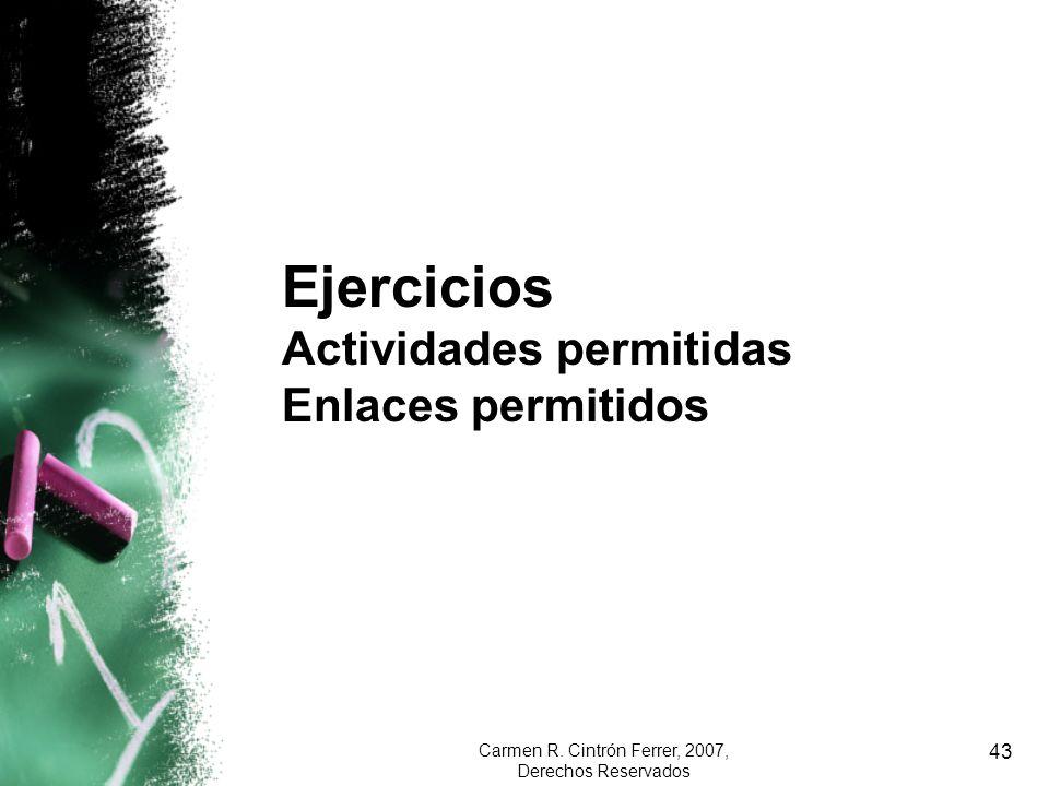Carmen R. Cintrón Ferrer, 2007, Derechos Reservados 43 Ejercicios Actividades permitidas Enlaces permitidos
