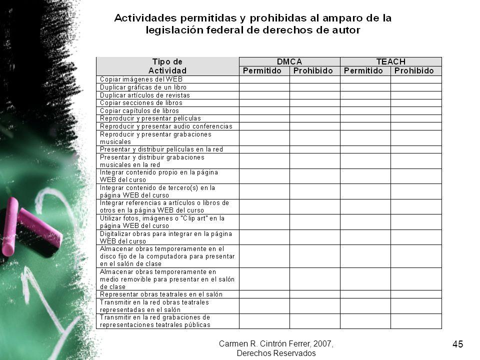 Carmen R. Cintrón Ferrer, 2007, Derechos Reservados 45