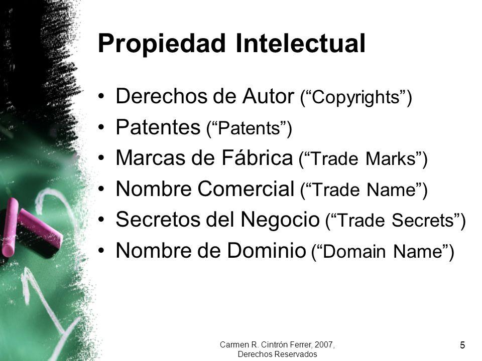 Carmen R. Cintrón Ferrer, 2007, Derechos Reservados 5 Propiedad Intelectual Derechos de Autor (Copyrights) Patentes (Patents) Marcas de Fábrica (Trade