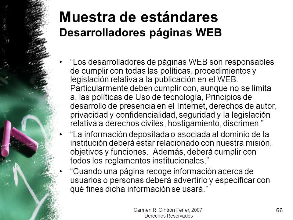 Carmen R. Cintrón Ferrer, 2007, Derechos Reservados 66 Muestra de estándares Desarrolladores páginas WEB Los desarrolladores de páginas WEB son respon