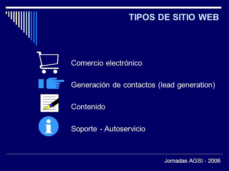 TIPOS DE SITIO WEB Comercio electrónico Generación de contactos (lead generation) Contenido Soporte - Autoservicio Jornadas AGSI - 2006