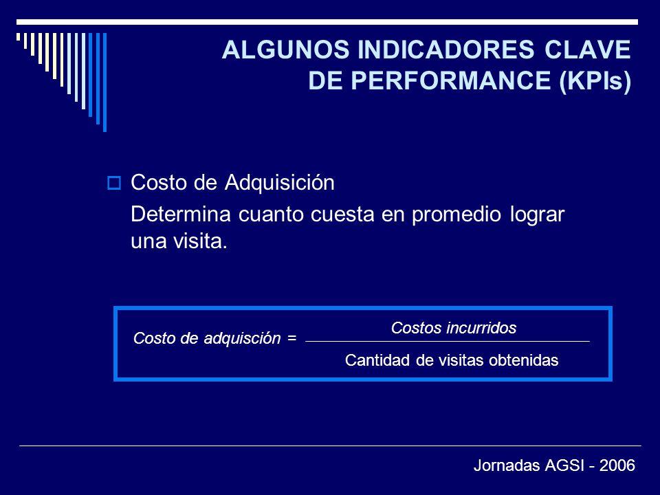 ALGUNOS INDICADORES CLAVE DE PERFORMANCE (KPIs) Costo de Adquisición Determina cuanto cuesta en promedio lograr una visita.
