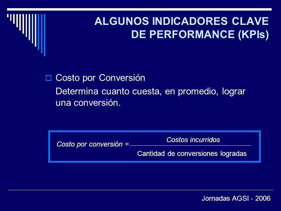 ALGUNOS INDICADORES CLAVE DE PERFORMANCE (KPIs) Costo por Conversión Determina cuanto cuesta, en promedio, lograr una conversión.