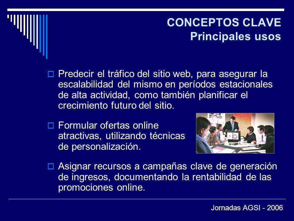 CONCEPTOS CLAVE Principales usos Predecir el tráfico del sitio web, para asegurar la escalabilidad del mismo en períodos estacionales de alta actividad, como también planificar el crecimiento futuro del sitio.