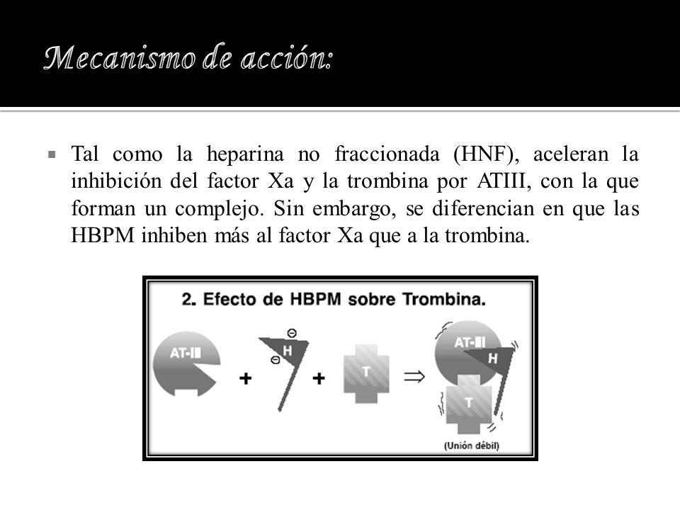 Tal como la heparina no fraccionada (HNF), aceleran la inhibición del factor Xa y la trombina por ATIII, con la que forman un complejo. Sin embargo, s