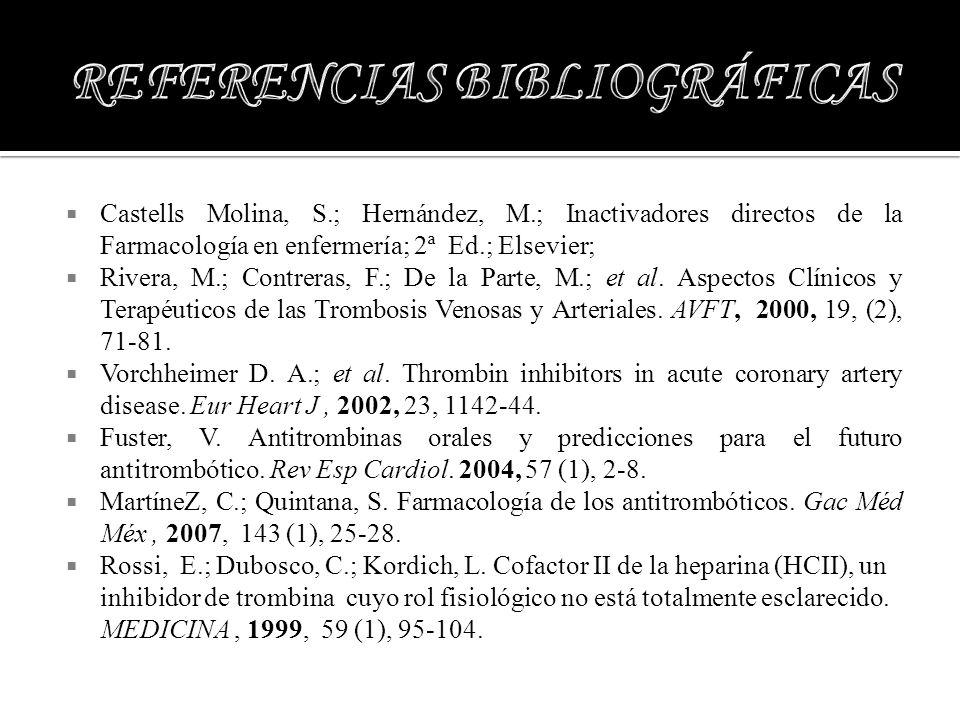 Castells Molina, S.; Hernández, M.; Inactivadores directos de la Farmacología en enfermería; 2ª Ed.; Elsevier; Rivera, M.; Contreras, F.; De la Parte,