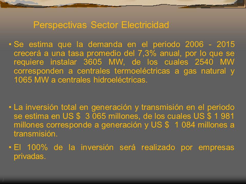 Perspectivas Sector Electricidad / Se estima que la demanda en el periodo 2006 - 2015 crecerá a una tasa promedio del 7,3% anual, por lo que se requie