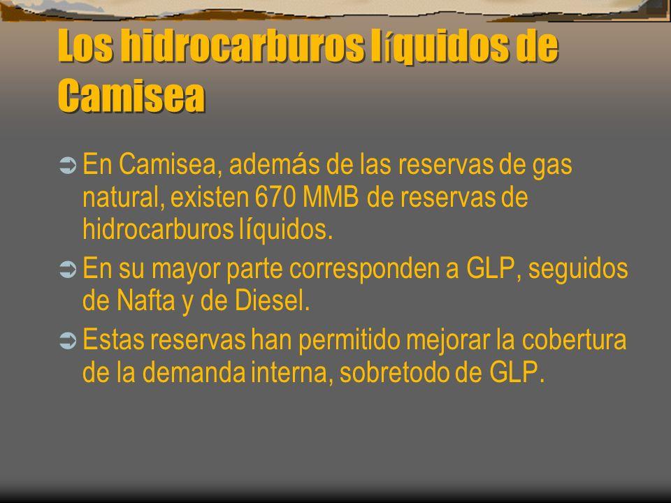 Los hidrocarburos l í quidos de Camisea En Camisea, adem á s de las reservas de gas natural, existen 670 MMB de reservas de hidrocarburos l í quidos.