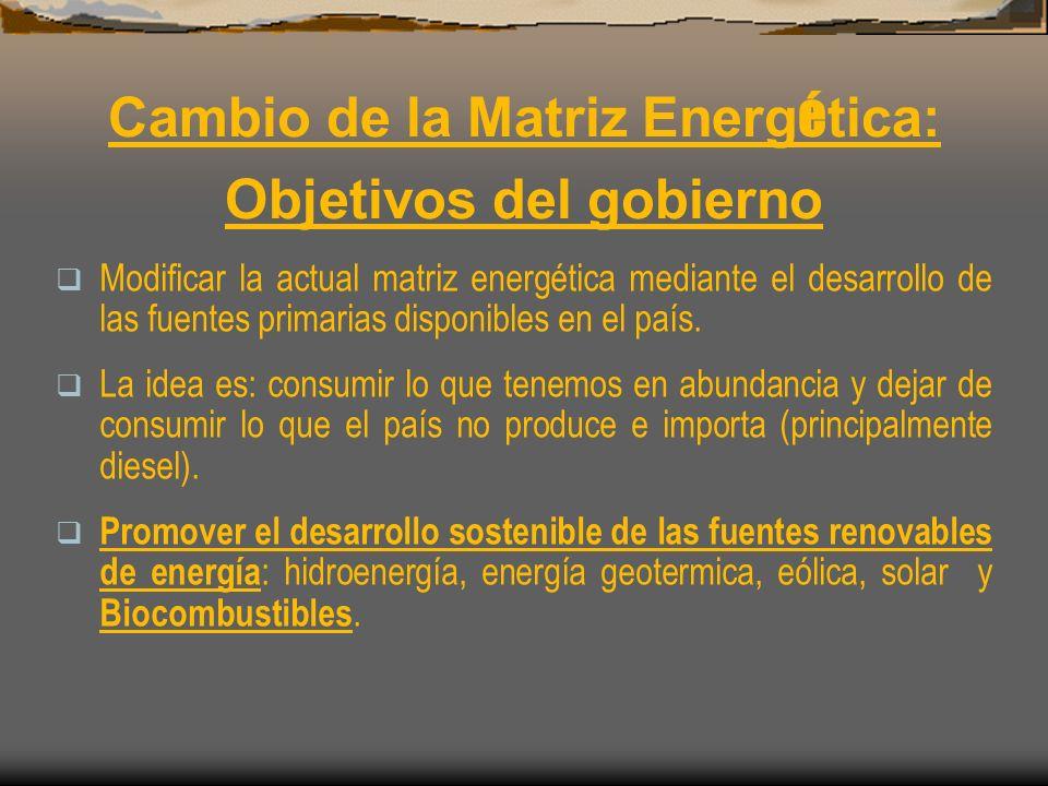 Cambio de la Matriz Energ é tica: Objetivos del gobierno Modificar la actual matriz energética mediante el desarrollo de las fuentes primarias disponi