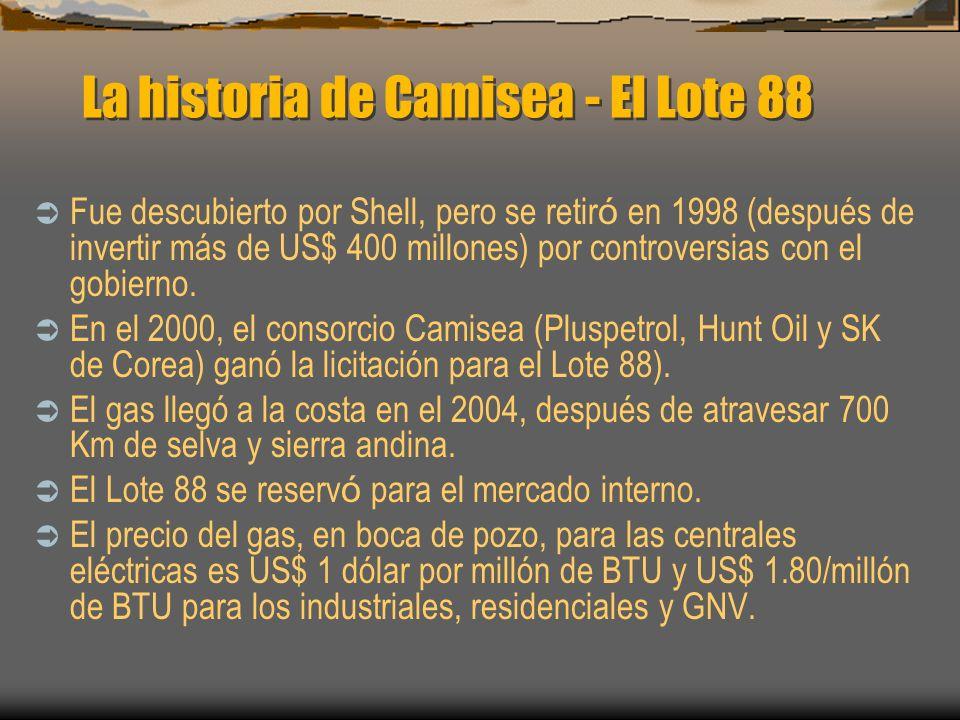 La historia de Camisea - El Lote 88 Fue descubierto por Shell, pero se retir ó en 1998 (después de invertir más de US$ 400 millones) por controversias