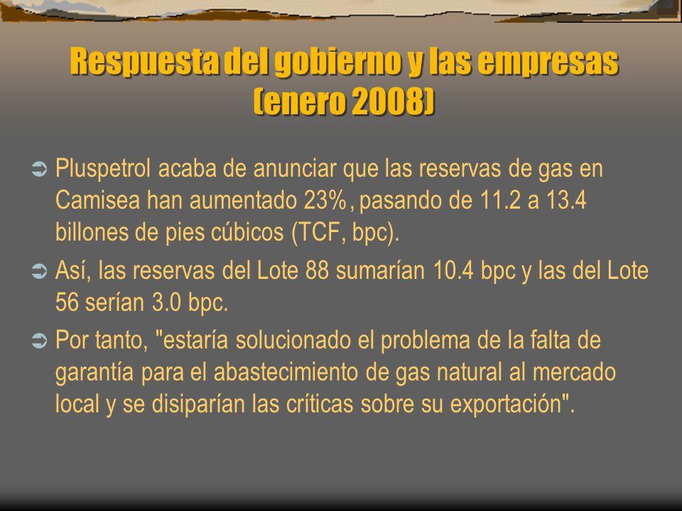 Respuesta del gobierno y las empresas (enero 2008) Pluspetrol acaba de anunciar que las reservas de gas en Camisea han aumentado 23%, pasando de 11.2