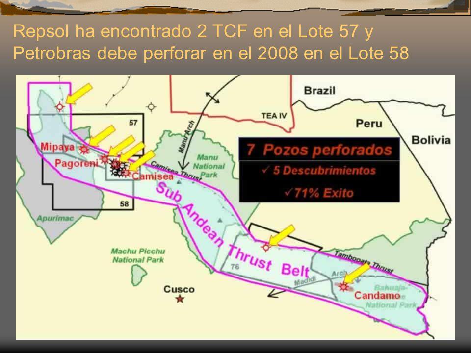 Fuente: PERUPETRO S.A. Repsol ha encontrado 2 TCF en el Lote 57 y Petrobras debe perforar en el 2008 en el Lote 58