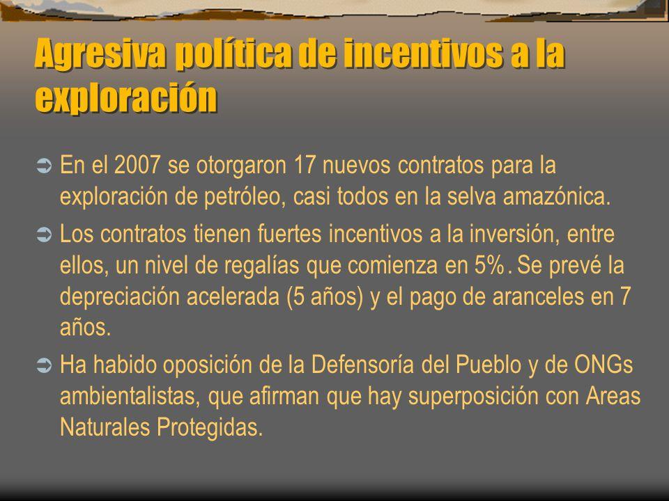Agresiva política de incentivos a la exploración En el 2007 se otorgaron 17 nuevos contratos para la exploración de petróleo, casi todos en la selva a