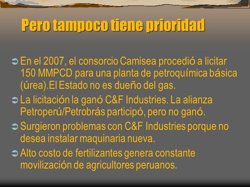 Pero tampoco tiene prioridad En el 2007, el consorcio Camisea procedi ó a licitar 150 MMPCD para una planta de petroqu í mica b á sica ( ú rea).El Est