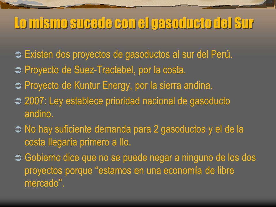 Lo mismo sucede con el gasoducto del Sur Existen dos proyectos de gasoductos al sur del Per ú. Proyecto de Suez-Tractebel, por la costa. Proyecto de K