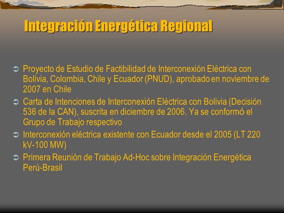 Integración Energética Regional Proyecto de Estudio de Factibilidad de Interconexión Eléctrica con Bolivia, Colombia, Chile y Ecuador (PNUD), aprobado