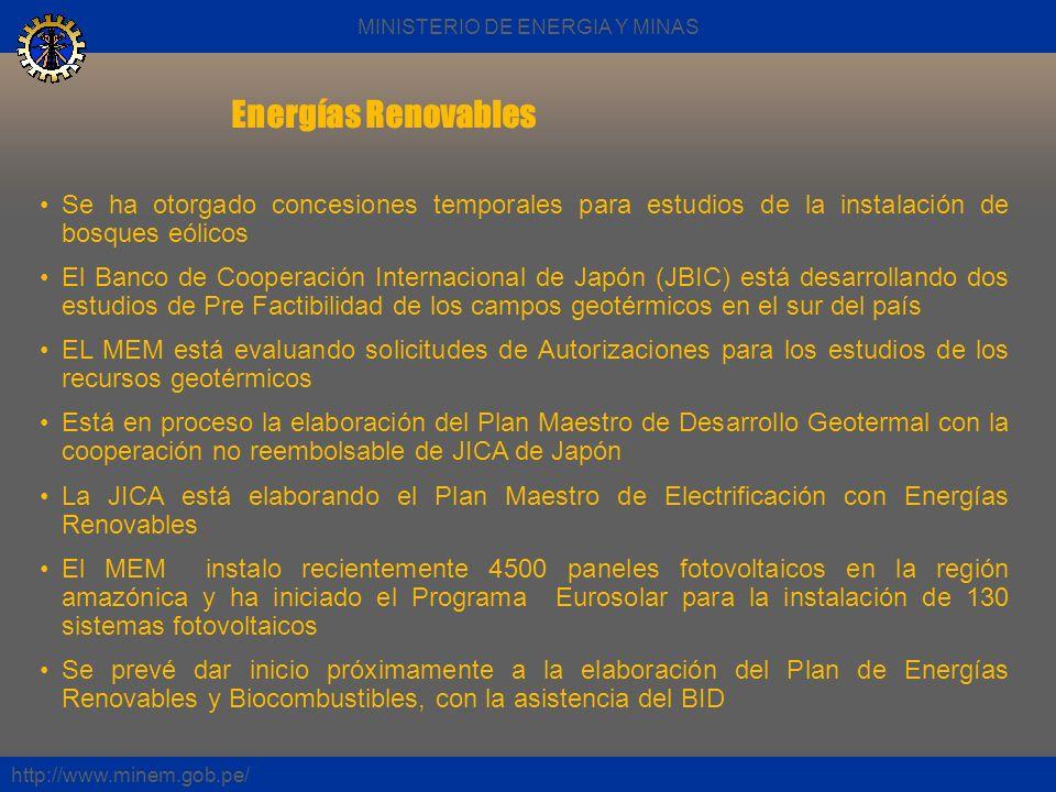 Energías Renovables http://www.minem.gob.pe/ Se ha otorgado concesiones temporales para estudios de la instalación de bosques eólicos El Banco de Coop